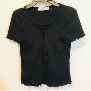 Urban Outfitters black lace-up crop top